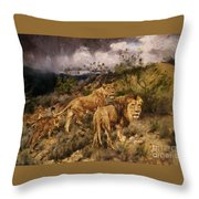 A Family Of Lions Throw Pillow