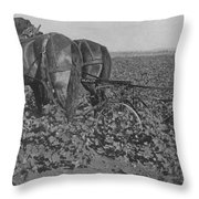 A Farmer Using A Cultivator  Throw Pillow