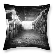 Farmer's Woodpile At Lusscroft Farm In Black And White Throw Pillow
