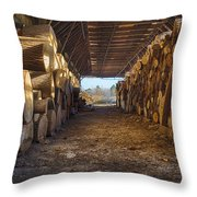 Woodpile At Lusscroft Farm In Color Throw Pillow