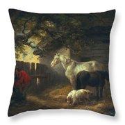 A Farmyard Throw Pillow by George Morland