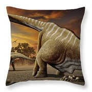 A Female Apatosaurus Laying Her Eggs Throw Pillow