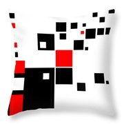 Black And Red Squares Throw Pillow