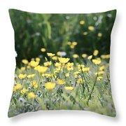 A Field Of Buttercups Throw Pillow