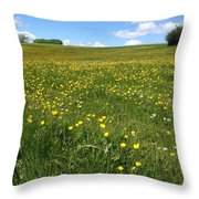 A Field Of Buttercups Throw Pillow