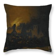 A Fire In A Village At Night Throw Pillow
