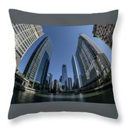 A Fisheye View Of The Chicago Skyline As You Appraoch Wolf Point Throw Pillow