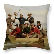 A Fishing Party Off Long Island Metal Throw Pillow