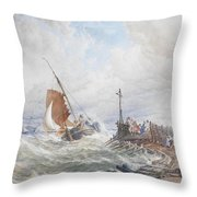 A Fishing Smack Entering Harbour Throw Pillow