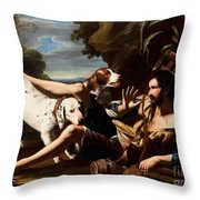 A Flask-bearer Surprised By Two Dogs In A Landscape Throw Pillow