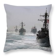 A Fleet Of Ships In Formation At Sea Throw Pillow