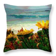 A Flowery View Of The Surf Watercolor Throw Pillow