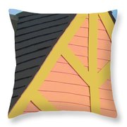A-frame In Pastel Pink And Harvest Gold Yellow Throw Pillow