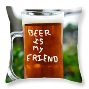 A Friendly Beer Throw Pillow