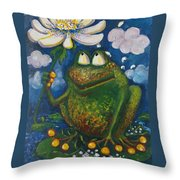 Frog In The Rain Throw Pillow