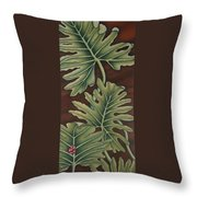 A Frog On A Philodendron Throw Pillow