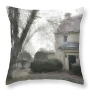 A Frosty Foggy Morning At The Manor House Throw Pillow