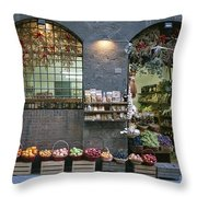 A Fruit And Vegetable Shop In Siena Throw Pillow