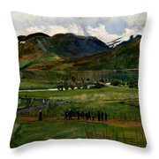 A Funeral Day In Jolster Throw Pillow