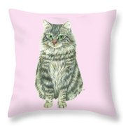 A Furry Cat  Throw Pillow