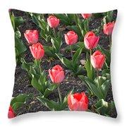 A Garden Full Of Tulips Throw Pillow