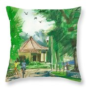 A Pavement And A Shade In A Garden Throw Pillow