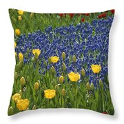 A Garden Of Colorful Tulips And Grape Throw Pillow