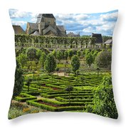 A Garden View At Chateau De Villandry Throw Pillow