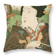 A Geisha With A Pipe Throw Pillow