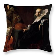 A Gentleman And A Lady With Musical Instruments Throw Pillow