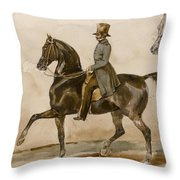 A Gentleman On Horseback With A Subsidiary Study Of The Horse's Head Throw Pillow