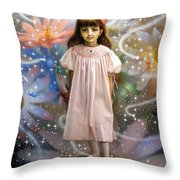 A Girl And A Seven Fairies 2 Throw Pillow