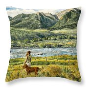 A Girl And Her Dog Throw Pillow