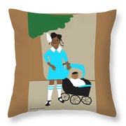 A Girl And Her Doll Throw Pillow