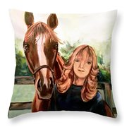 Wide Eyed Girl And Her Horse Throw Pillow