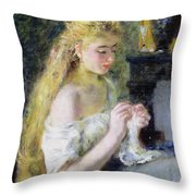 A Girl Crocheting Throw Pillow by Pierre Auguste Renoir