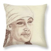 A Girl In A Scarf Throw Pillow