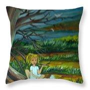 A Girl Near The Pond Throw Pillow