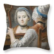 A Girl Wearing A Bonnet Throw Pillow