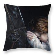 A Girl Who Loves Horses Throw Pillow
