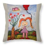 A Girl With A Balloon Throw Pillow