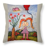 A Girl With A Balloon Throw Pillow