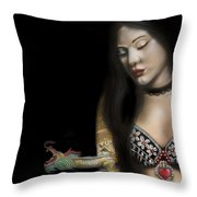 A Girl With A Dragon Tattoo Throw Pillow