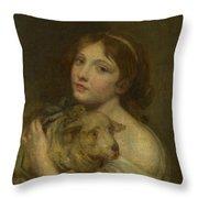 A Girl With A Lamb Throw Pillow