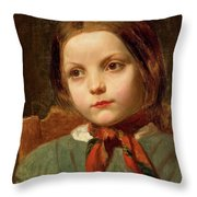 A Girl With A Red Scarf Throw Pillow