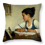 A Girl Writing. The Pet Goldfinch Throw Pillow
