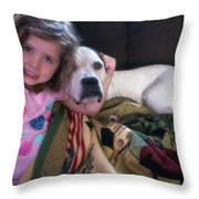 A Girlie-girl And Her Dog Throw Pillow