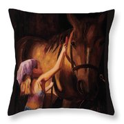 A Girls First Love Throw Pillow