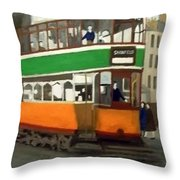 A Glasgow Tram With Figures And Tenement Throw Pillow