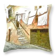 A Glimpse Of A House With Hanging Clothes Throw Pillow